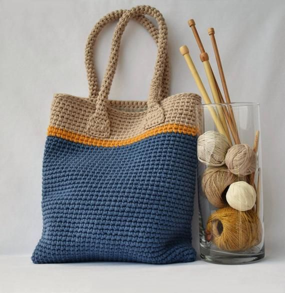 Middle Tote Bag Crochet Tote Bag, Blue beige hand bag, Blue Summer bag, Boho cr…