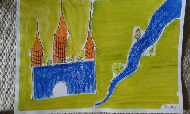 Castle Acrylics and Oil Pastels
