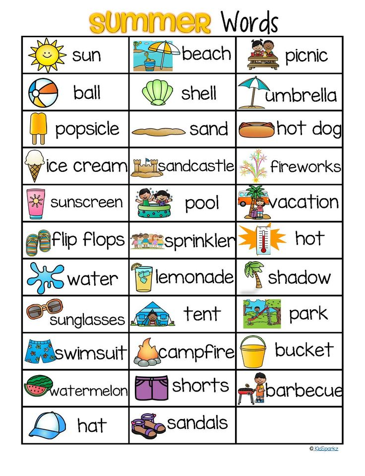 ***FREE***This is a concise page of words that can be used with a SUMMER theme, for sight reading, story ideas, picture/word linking, and other literacy activities.   This page lists the 32 words featured in the KidSparkz packet SUMMER Vocabulary Center and Group Activities for Preschool and Kindergarten