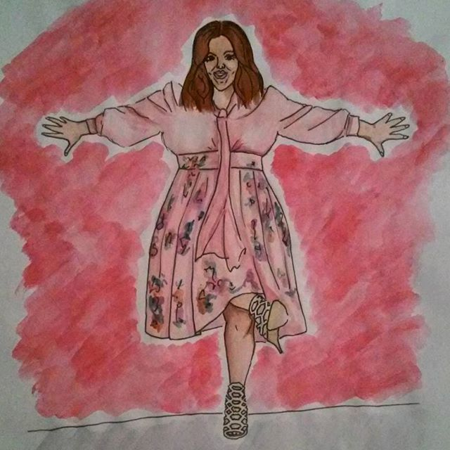 #art #paint #painting #melissamccarthy #best #actress #favourite #woman #fashion #moda #mode #illustration #illustrate #fashionillustration #fromphoto #pink #rose