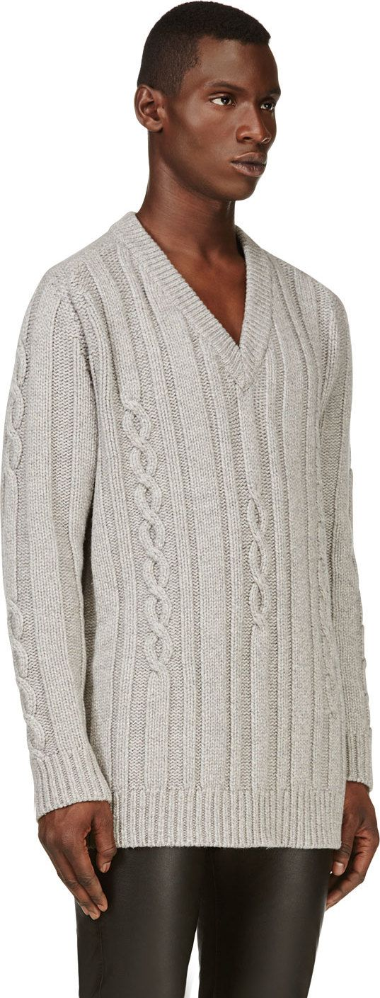 Maison Martin Margiela: Grey Oversize Cable Knit Sweater