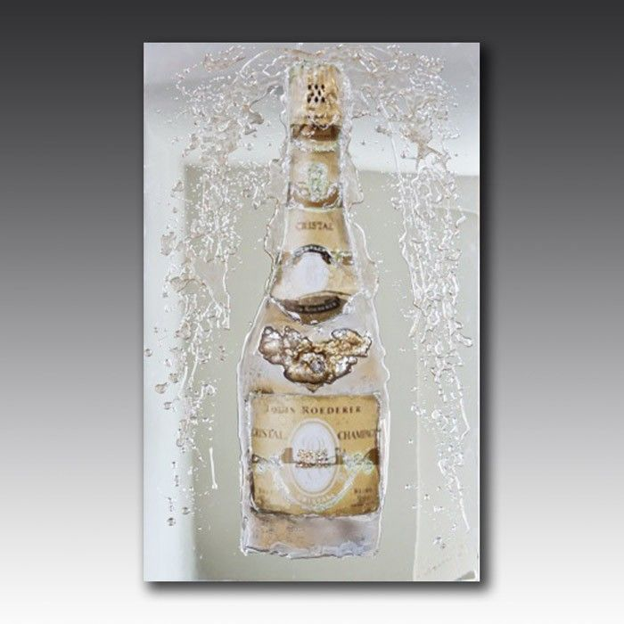 Handcrafted from glass and embellished with Swarovski crystals, this wall art exhibits a classic bottle of Cristal champagne