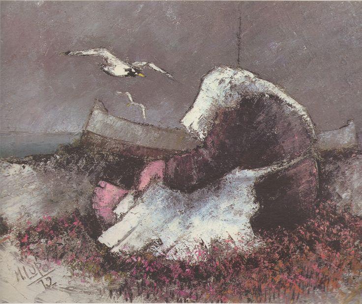 Mario Lupo, Donna in attesa, 1972, olio su tela, 50 x 60 cm, Roseto degli Abruzzi