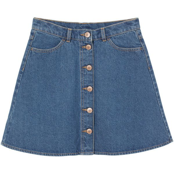 Monki Mini A-line denim skirt (£15) ❤ liked on Polyvore featuring skirts, mini skirts, bottoms, denim, saias, blue, mini skirt, blue denim skirt, blue denim mini skirt and flared mini skirt