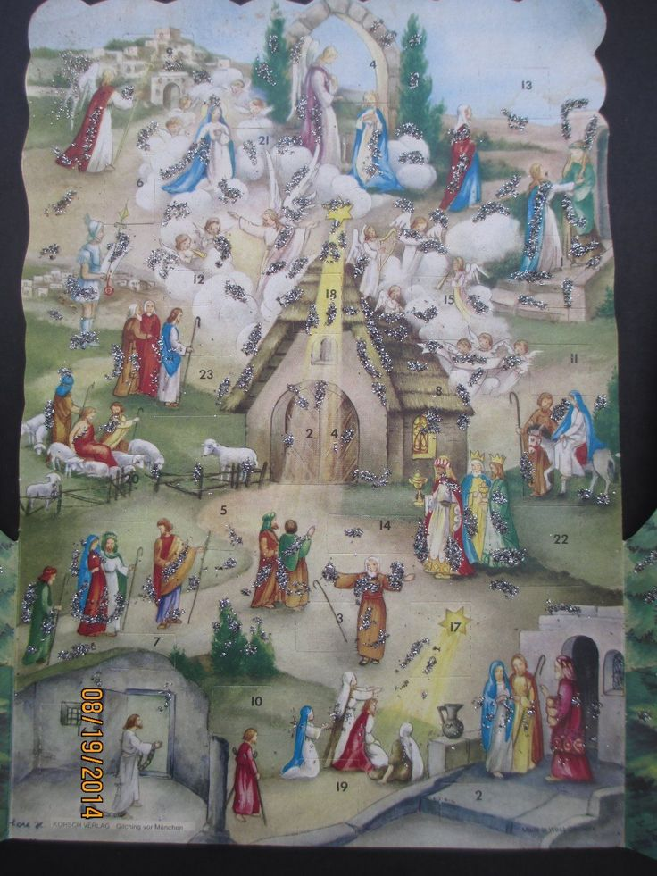 Vtg German Korsch Verlag Signed Unused Christmas Scene Advent Calendar Glitter | eBay