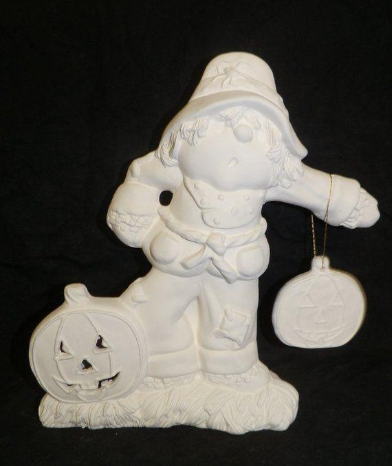 HALLOWEEN Scarecrow Holding Pumpkin LIGHT Up * Ceramic Bisque Ready