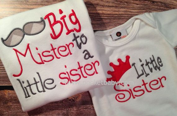 Set of 2 Sibling Shirt  Big Mister to a little by Pocketbaby, $42.00