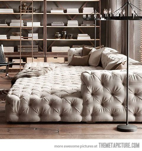 the only sofa you'll ever need...need to create with mattress and make a box wrap around+ back/arm frame and upholster ..we seriously keep saying we need to move the bed to livingroom.. so why not?!