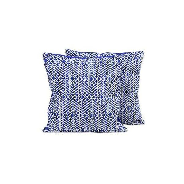 NOVICA Blue and Ivory Cotton Blend Cushion Covers (Pair) (405 ZAR) ❤ liked on Polyvore featuring home, home decor, throw pillows, blue, cushion covers, pillows & throws, blue accent pillows, novica home decor, beige throw pillows and off white throw pillows