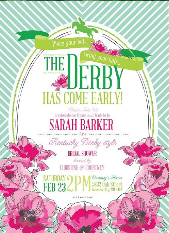 A beautiful invitation for a Kentucky Derby themed bridal shower! | $96 for 30 at Mountain Paper