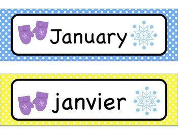 These labels contain all 12 months of the year, in both English and French.  Polka dot background for labels, relevant clipart for each month. Can be used for classroom walls or in pocket chart for calendar.