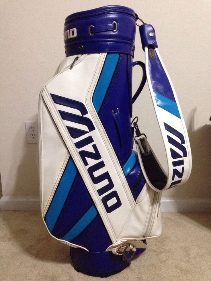 Mizuno Staff Golf Cart Leather Bag W Matching Carry Straps