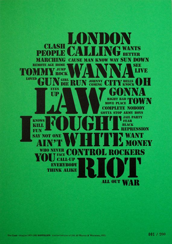 The Clash Distilled. A3 Letterpress Punk Art by WastedAndWounded