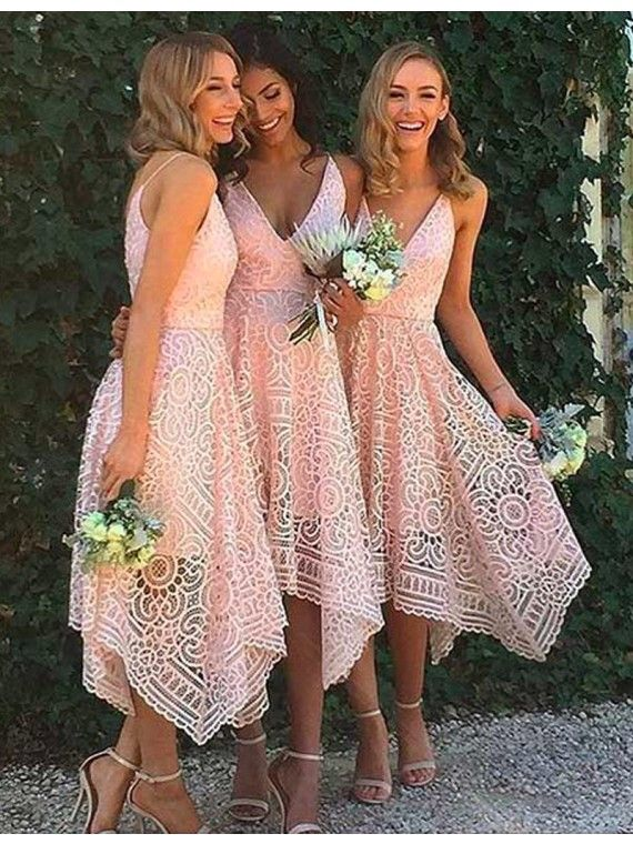 Simple Bridesmaid Dresses,Pink Bridesmaid Dresses,V-Neck Bridesmaid Dresses,Sleeveless Bridesmaid Dresses,Asymmetrical Bridesmaid Dresses,A-Line Bridesmaid Dresses,Lace Bridesmaid Dresses,2017 bridesmaid dresses