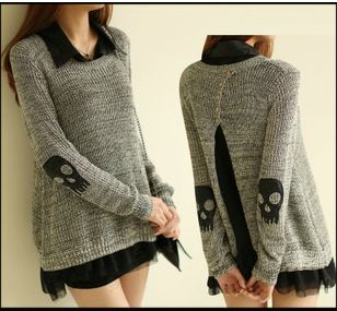 Skull appliqué piece sweater knit chiffon dress