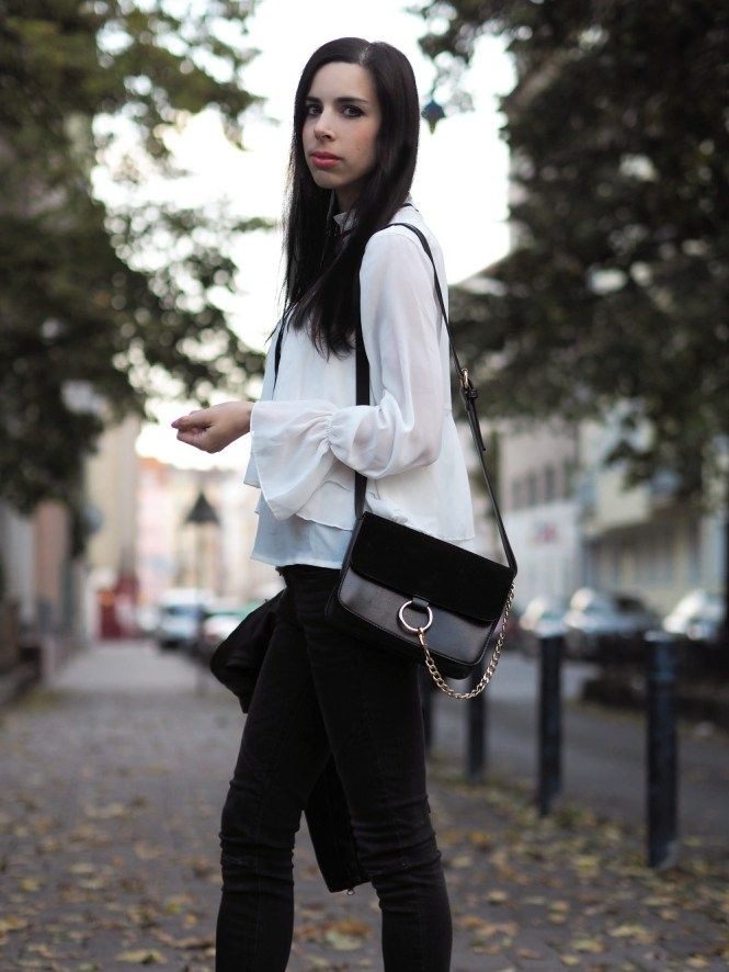 PINK PEPPER PARADISE blog - Ruffled collar blouse and leather jacket by Sammydress