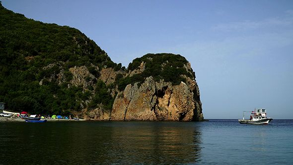 Beautiful Beach with Rocks and Forest at Canakkale 2