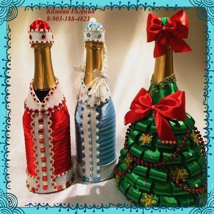 Новый год 2016 ручной работы. Декор шампанского на Новый Год. Евгения. Интернет-магазин Ярмарка Мастеров. Шампанское на Новый Год