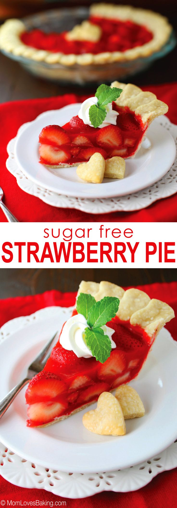 A slightly healthier, sugar free version of the Strawberry Pie from the Big Boy restaurant I remember having as a kid. It's berrylicious! Click pin to get the recipe from MomLovesBaking.com