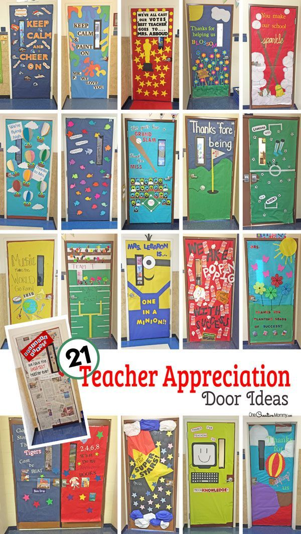 Teachers are pretty awesome and so are these door decorations! Here is a roundup of fun door decorations honoring teachers!