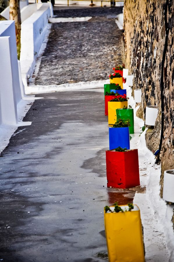 Color Cans - Santorini/Fira/Oia (from #luisdehoyos at www.500px.com/dhclicks )