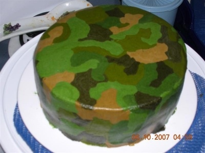 Camoflauge cake  By froglover on CakeCentral.com