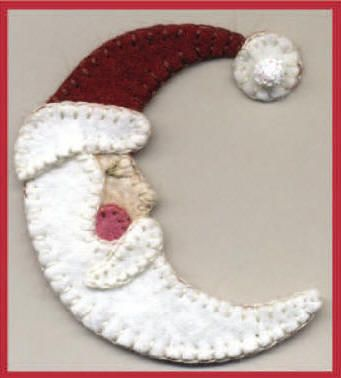 Santa Moon felt Christmas ornament