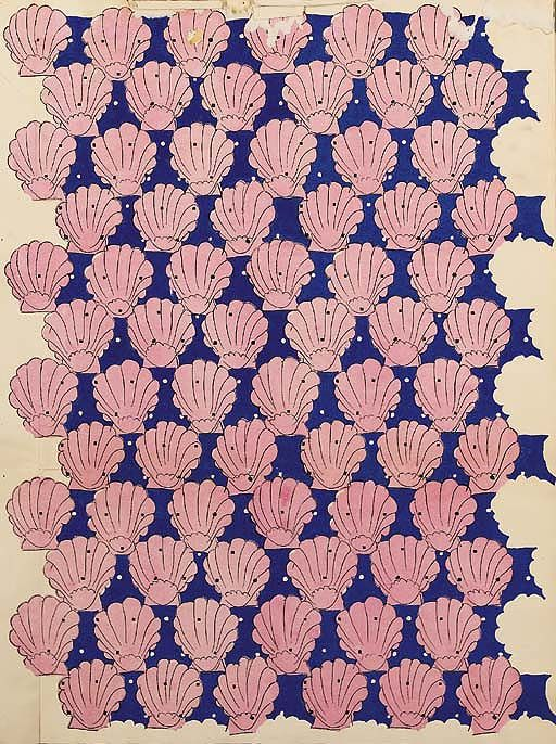 Raoul Dufy, coquilles st Jacques roses sur fond bleu Bianchini Textiles Collection