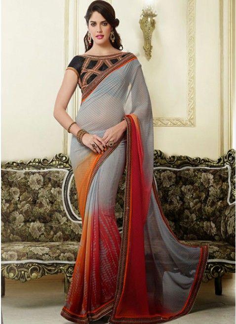 Fascinating Gray, Orange & Red #Embroidered #Saree #designersarees #clothing #womenswear #womenapparel #ethnicwear