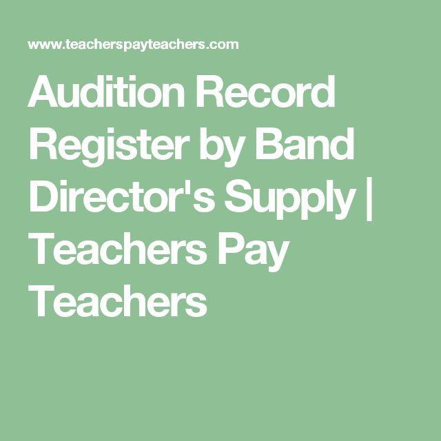 Audition Record Register by Band Director's Supply | Teachers Pay Teachers