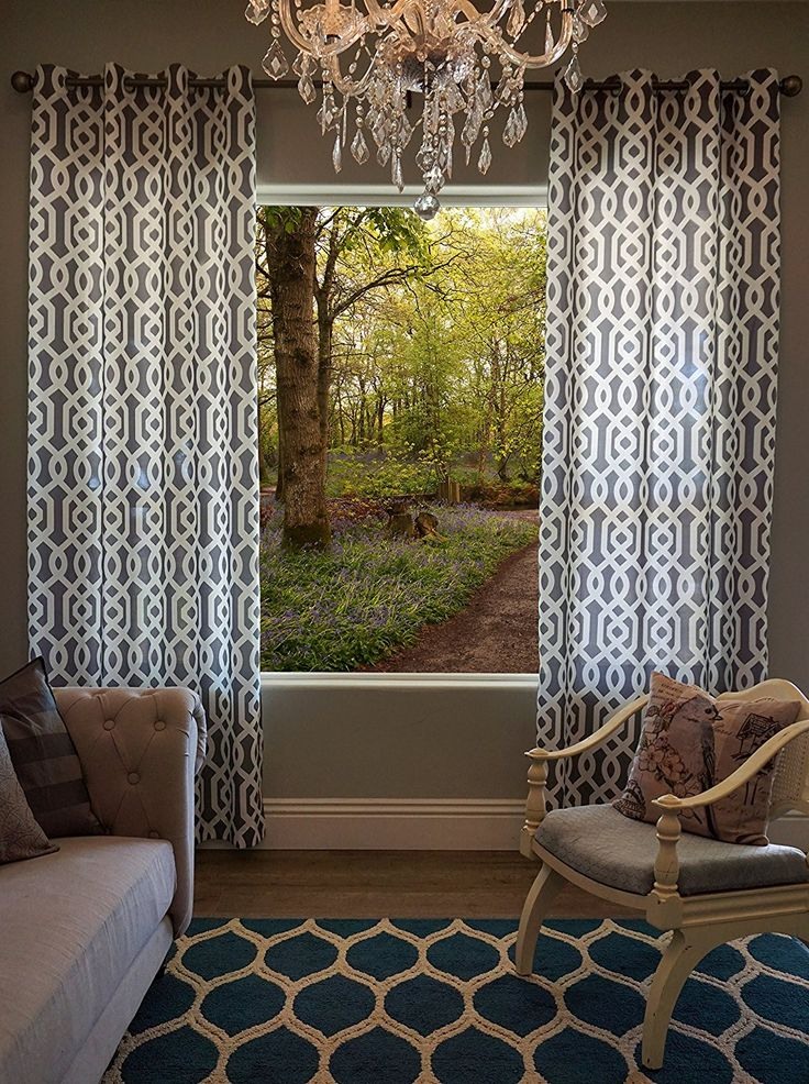 Interior Designs With Gray and White Trellis Patterned Single Window Curtain Panel, Width 52 X Length 108 Modern Trellis pattern window curtain. White design with a gray background. Elegant design with eight grommets per panel for easy installation. Tall window curtains that will enhance the...