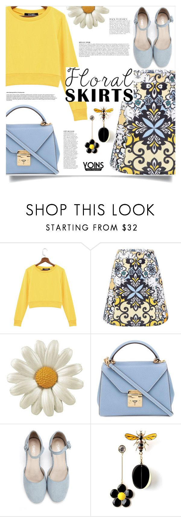 """""""Yoins: Floral Skirt"""" by yoinscollection ❤ liked on Polyvore featuring Mark Cross and Anja"""