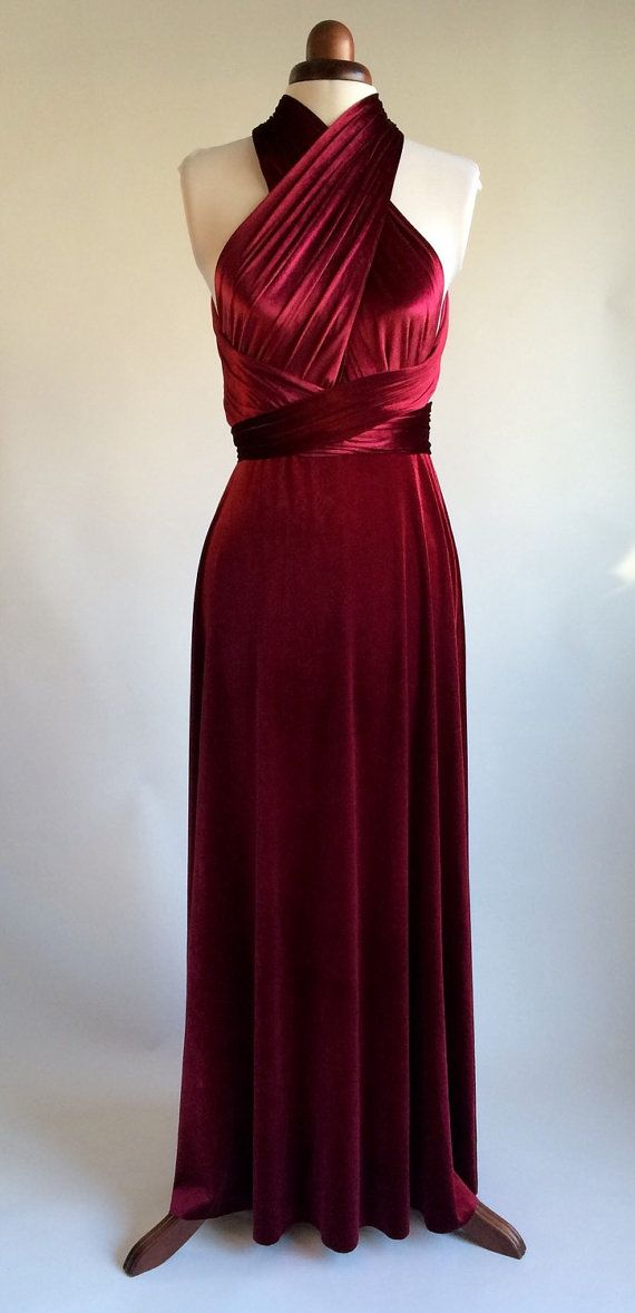 Beautiful infinity dress made in a rich red velvet