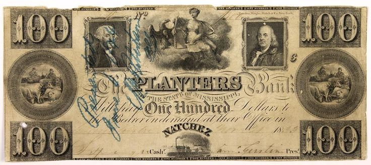 Mississippi Obsolete Currency Planters Bank One Hundred Dollars