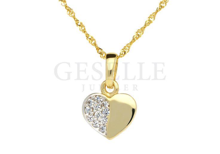 Komplet - zawieszka w kształcie serca z cyrkoniami z łańcuszkiem o splocie singapur | ZŁOTO \ Żółte złoto \ Komplety NA PREZENT \ Urodziny NA PREZENT \ Dzień Matki NA PREZENT \ Narodziny Dziecka od GESELLE Jubiler
