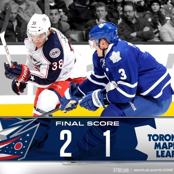 Leafs lose 2-1 to Columbus in Toronto