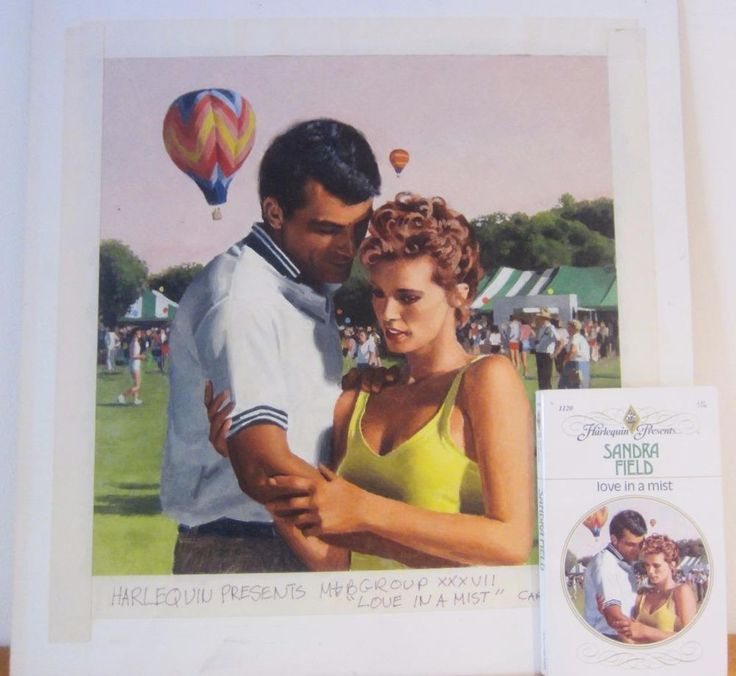 This original illustration painting is so realistic you would think it's a photograph! From the cover of a #Harlequin novel, signed by famed illustrator #DickKohfield. Includes original paperback 1st edition book  Love In Mist Book #Realism