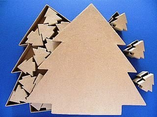 Giant Paper Mache Advent Calendar Box Set Tree Christmas