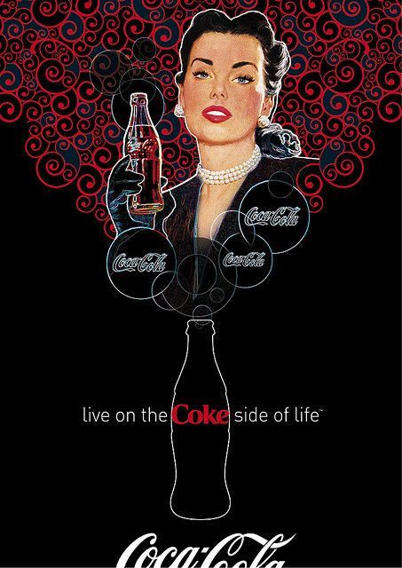 COCA-COLA ART GALLERY    www.coca-cola-art.com    Is she a Victorian pin-up, a girl next-door, a movie star, a party hostess, a factory worker or a swimsuit beauty? Her demeanor is radiant, vivacious and breezy. She exudes youthful energy and appears pic