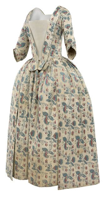 Robe à l'Anglaise, c. 1740-1750, re-constructed 1770-1780. Cream silk, woven with a regularly repeating design of stylized flowers with the colours set up in advance in the vertical warp threads. The gown was constructed as a robe à la Francaise with a sack-back, unpicked and re-constructed as a robe à l'Anglaise in the 1770s.