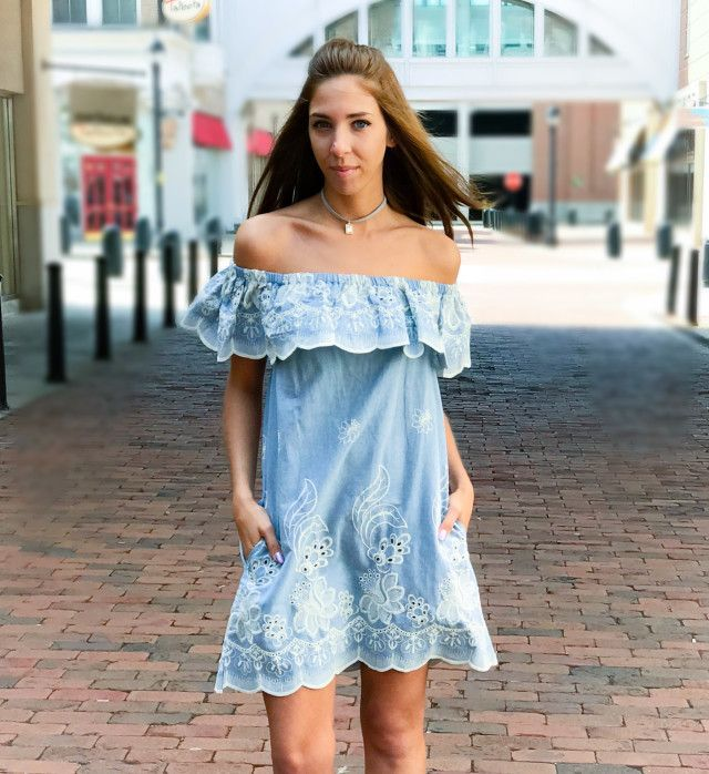 Incredibly beautiful off shoulder denim dress. Featuring embroidery stitch detail and scalloped hem. Two side pockets, made of high quality cotton.