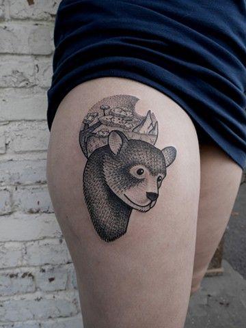 Bear tattoo done at Woodstock Tattoo Studio. bear tattoos thigh tattoo upstate ny