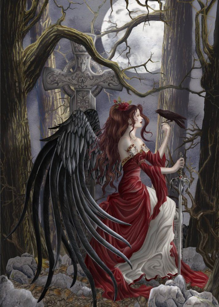 The Morrígan is a goddess of battle, strife, and sovereignty from the Irish mythology. She sometimes appears in the form of a crow, flying above the warriors, and in the Ulster cycle she also takes the form of an eel, a wolf and a cow. She is generally considered a war deity comparable with the Germanic Valkyries, although her association with a cow also suggests a role connected with wealth and the land.