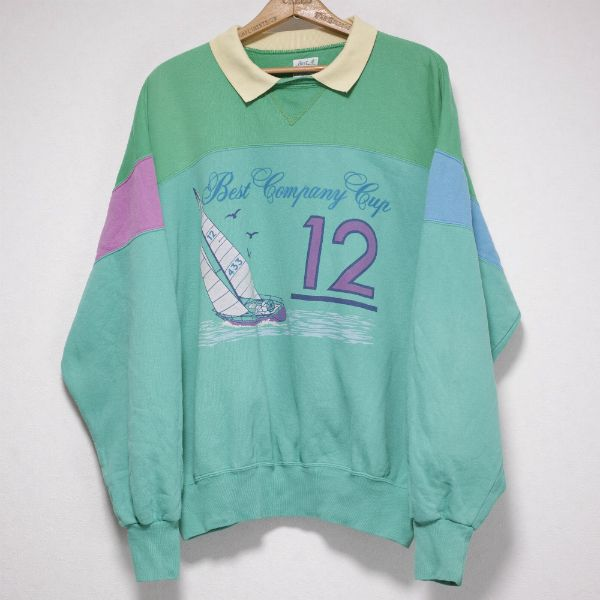 70s-80s BEST COMPANY OVERSIZED COLLAR SWEATSHIRT Size: XXL Made in ITALY
