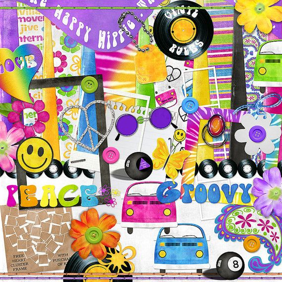 """Hippie Digital Scrapbook Kit - """"The Happy Hippie"""" digiscrap kit with a VW bus, peace sign, mood ring in bright neon colors for layouts"""