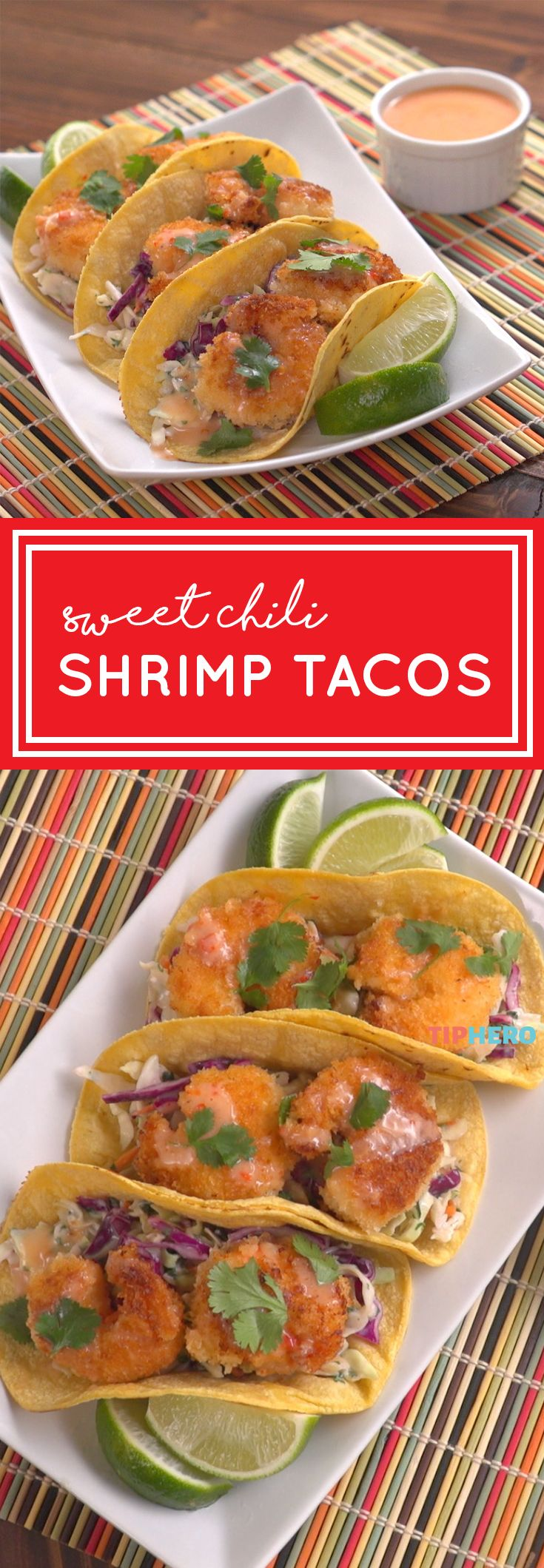 Mmm-mmm sweet chili shrimp tacos! Take your tacos to the next level with this flavorful recipe. Click for the recipe and how-to video.  #tacotuesday #tacos #shrimp #seafood #familydinner #dinnertime #yum #recipe #recipes