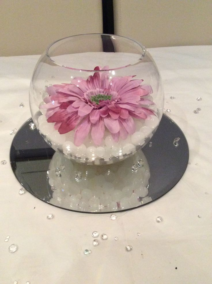 Fish bowl wedding centrepiece for purple themed weddings