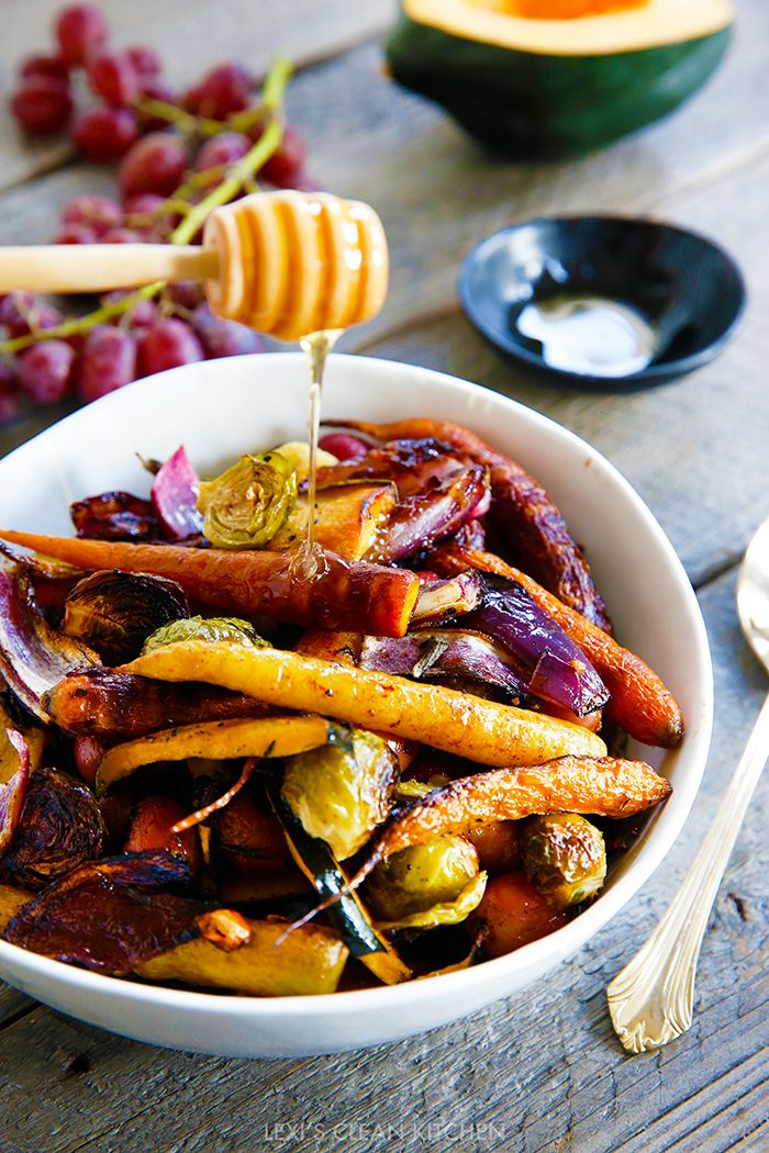 This savory blend of roasted vegetables is seasoned with tasty herbs and a drizzle of sweet honey for the perfect dinner side. With only 10 minutes of prep work, this easy recipe can be throw together for a healthy dish on even your busiest days.