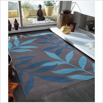 Network Rugs Stunning Leave Blue Tufted Rug