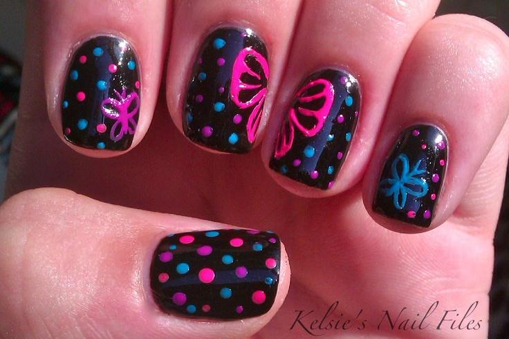 .: Neon Butterflies, Nails Art, Cute Nails, Polka Dots Nails, Butterflies Nails, Nails Polish, Guest Posts, Nail Art, Art Nails